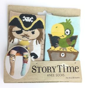NAT & JULES Story Time Knee Socks Pirate & Parrot